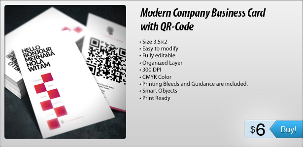 Modern Company Business Card with QR-Code